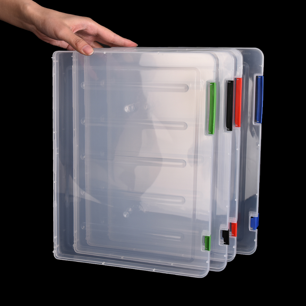 3 Colors A4 Transparent Storage Box Clear Plastic Document