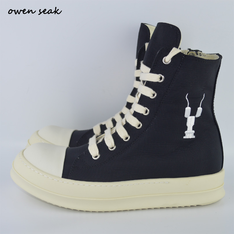 Owen Seak Arrival Men Shoes High TOP Ankle Lace Up Luxury Trainers Canvas Sneaker Boots Casual