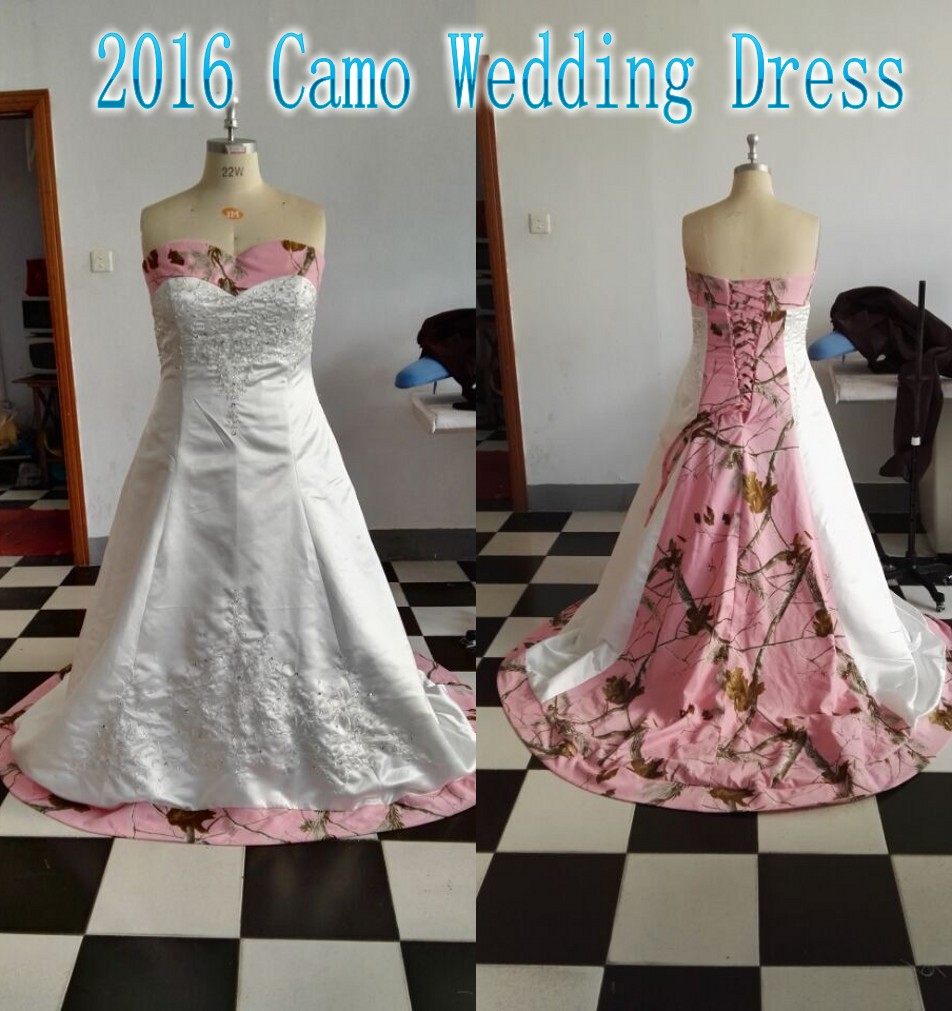 f5ce336dfe5 Plus Size Pink Camo Wedding Dresses With Sweetheart Neck Lace Up Arabic  Dubai Camouflage Bridal Gowns Vestido De Novia-in Wedding Dresses from  Weddings ...