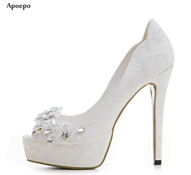 Apoepo Sexy Peep Toe Platform Pumps Crystal Embellished High Heel Shoes for Woman Rhinestones Flower Wedding Heels Lace Shoe hot selling crystal embellished wedding heels sexy peep toe platform pumps woman high heel shoes
