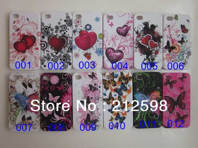 100 pcs/lot, DHL Free shipping,Colorful Flower & Butterfly Heart TPU Case for iphone 4 4G 4S case