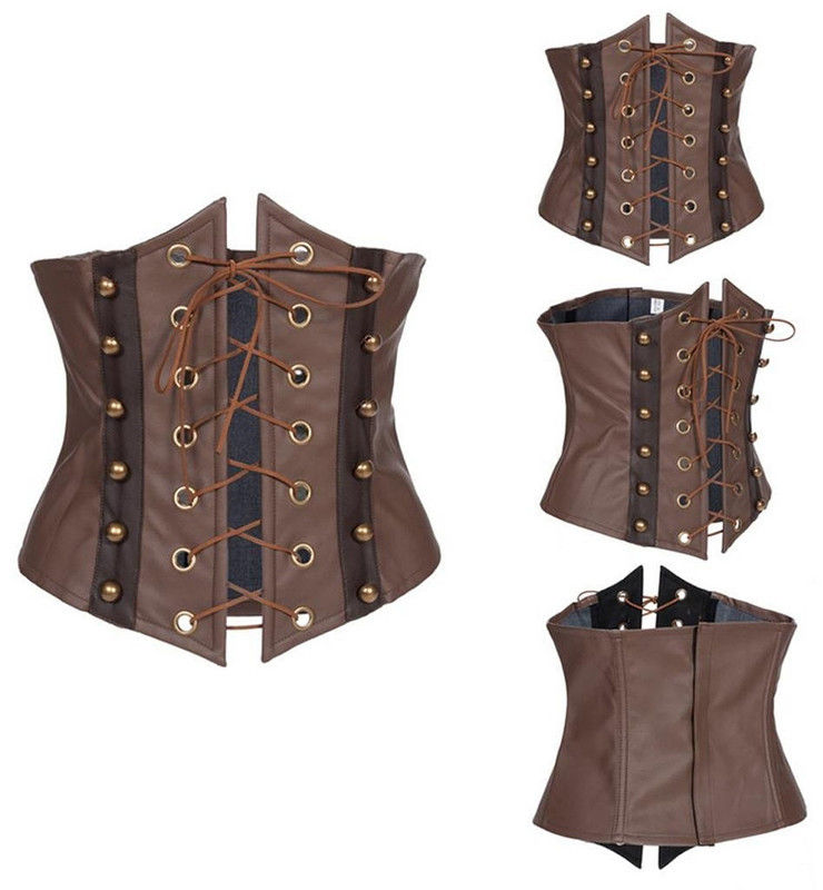 Vintage Brown Faux Leather Lace Up Boned Steampunk Corset and Bustier Top