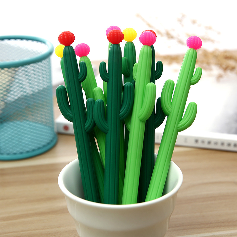 2pcs Creative Cactus Gel Pen Cute Kawaii Succulent Plants Black Signing Pen Student Stationery Canetas Criativa 5 10pcs uniball eye micro gel pen 0 5mm ub 150 black red blue smooth ink canetas gel signing pen for contract office stationery