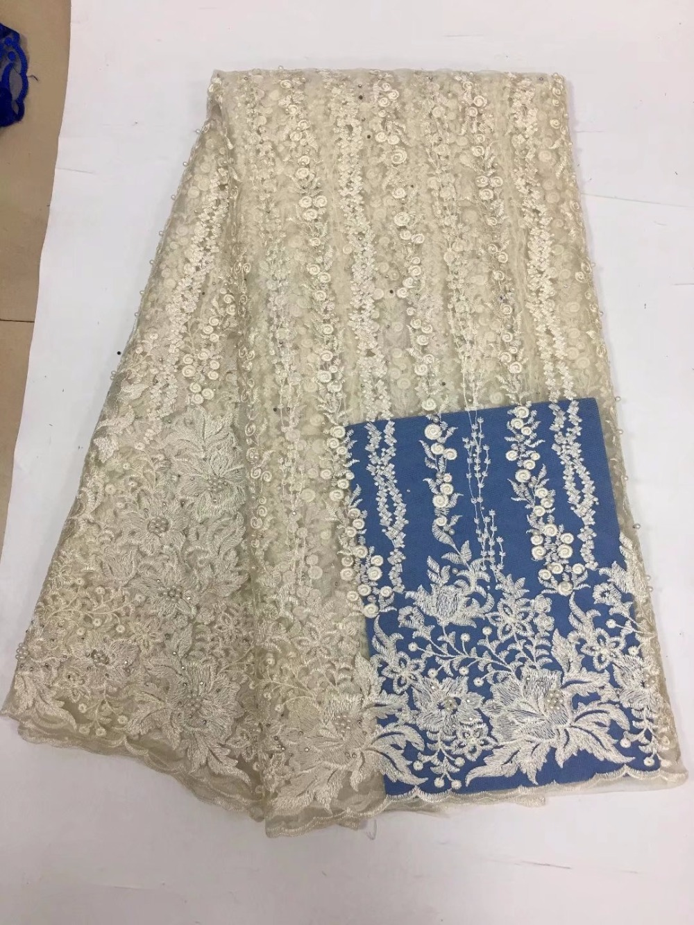 Belo tule tecido de renda líquida africano com contas de alta qualidade tecido laço francês africano para o vestido de casamento yda082 - 3