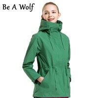 Be A Wolf Hiking Jackets Women Spring Autumn Zipper Straight In The Long Slim Windbreaker Jacket