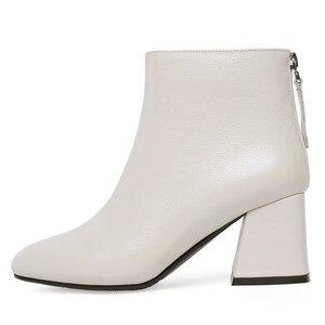 Image 2 - جلد طبيعي حذاء من الجلد النساء حافر كعب الخريف سيدة عالية الكعب الأحذية A263 امرأة الموضة أسود بيج ساحة تو زيبر الأحذية