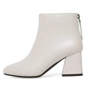 Image 2 - Genuine Leather Ankle Boots Women Hoof Heel Autumn Lady High Heels Shoes A263 Fashion Woman Black Beige Square Toe Zipper Boots