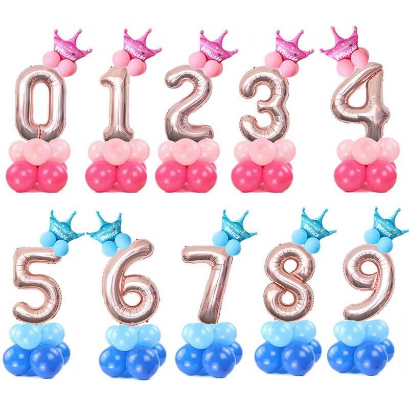 32inch Aluminum Foil Crown Digital Balloon Set Birthday Party Baby Shower Decoration Digital Balloon Children's Toys