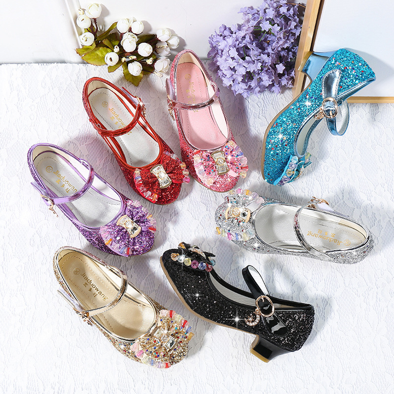 Image 5 - Children Princess Shoes for Girls Party High Heel Sandals Fashion Flower Kids Glitter Leather Shoes Butterfly Knot Dress Wedding-in Leather Shoes from Mother & Kids