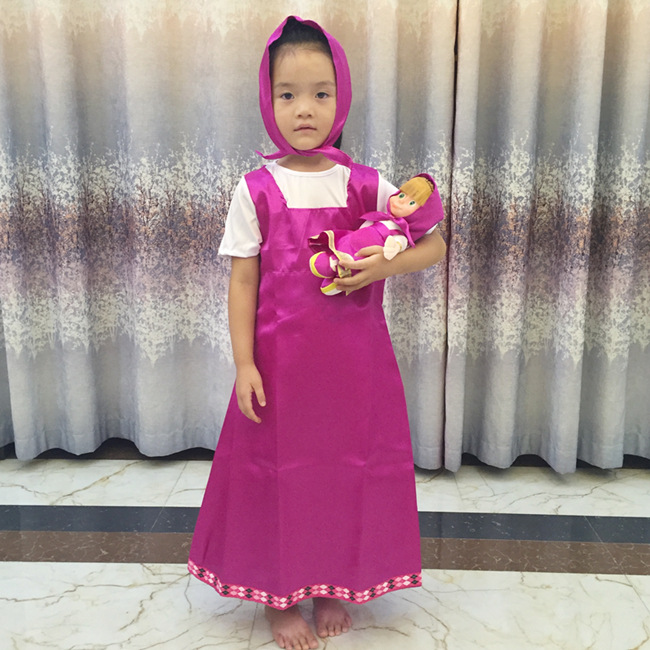 Girl Masha and Bear Purple dress with headscarf Kid's Masha Costume Halloween Cosplay Childrens Fancy Short sleeve Dress