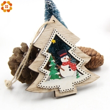 3PCS/Lot DIY Cute Christmas Bell&Star&Tree Wooden Pendants Ornaments For Home Christmas Party/ Xmas Tree /Kids Gifts Decorations