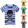 2017 boys summer clothing baby boys tshirts stripe skull print child 100% cotton short sleeve T-shirt boys clothes