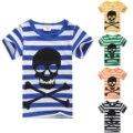 2017 niños ropa de verano niños bebés camisetas del cráneo de la raya del niño de impresión 100% de algodón de manga corta T-shirt ropa de los muchachos