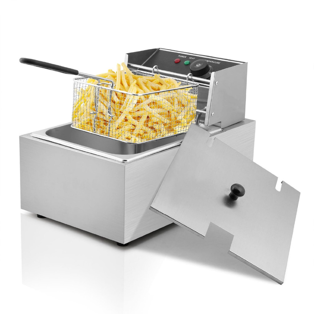 Deep Fryer Commercial Electric Fryer Deep Fat Chip Fryer 6 Litre Single Tank with Accessories salter air fryer home high capacity multifunction no smoke chicken wings fries machine intelligent electric fryer