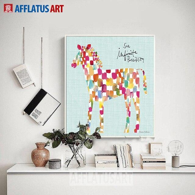 INSPIRAÇÃO Mosaico Cavalo Balão Nordic Abstract Wall Art Posters E  Impressões Da Parede Da Pintura Da