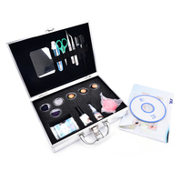 Professional Eyelashes Extension Kit False EyeLash Lashes Makeup Set With Silver Box Case Salon Tool With Tweezers Dryer Set