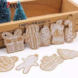 Image 1 - Étiquettes en papier Kraft série de 50 pièces, artisanat multi types à suspendre bricolage corde, étiquettes de fête de noël, fournitures pour emballage cadeau