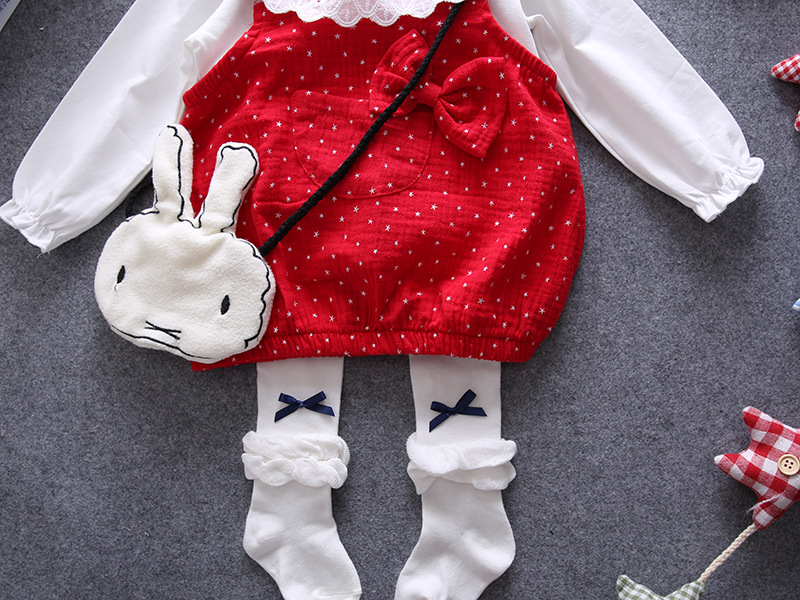 2016 brand t shirt+strap dress dress 2pcs newborn girls clothes baby gils dress1 year birthday girls dress red polka dot vestido