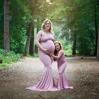 Don&Judy Comfortable Cotton Mother Daughter Kids Long Dresses Family Matching Clothes Three Colors Maternity Photography Props