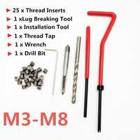 25PCS Car Engine Block Restoring Damaged Thread Repair Tool Kit M3 M4 M5 M6 M7 M8 Auto Helical Coil Insert Garage Tools