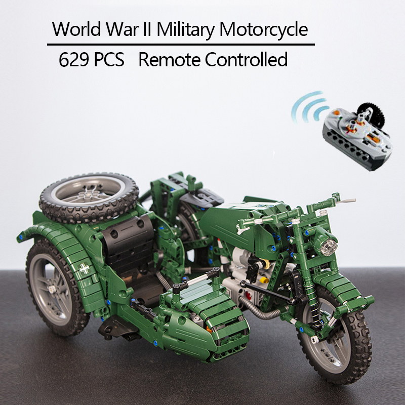 CaDA Remote Control Motorcycle Weapon Military Seires Model Building Blocks Technic Kids Toys Children Gift with