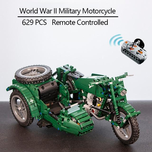 CaDA 원격 제어 오토바이 무기 군사 Seires 모델 빌딩 블록 기술 어린이 장난감 원래 상자와 어린이 선물