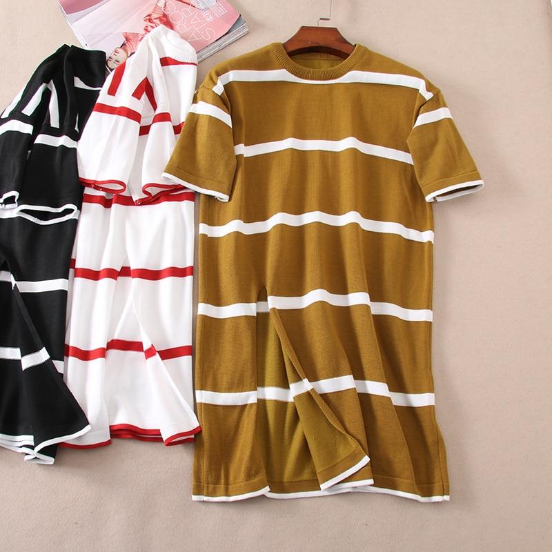 Elastic Straight Swing Bottom Split Spring Short Sleeved Stripes Sweater Shirt Wonder Woman Casual Womens Summer Clothes