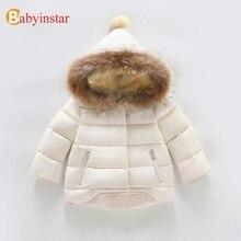 Babyinstar/Дети Теплый пуховик и парки Пальто 2018 новые Цветочный принт для девочек зимняя одежда оборками Куртка с капюшоном Детская верхняя одежда