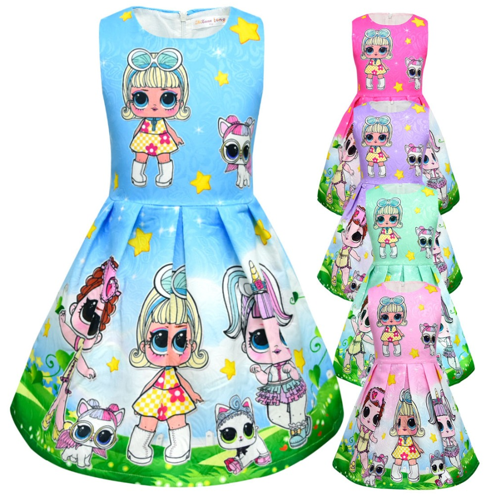 Baby girls Dolls cosplay dress Tops Tee cartoon Print Princess Party Clothing For Kids Girl sleeveless dresses clothes L196 girls banana print tee