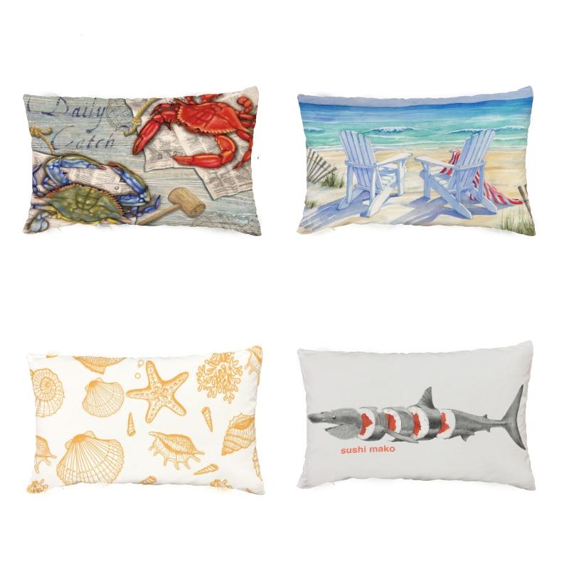 Hot Sale Crab Lobster Beach Geometric White Cushion Cover Starfish Coral Mermaid Polar Bear Print Home Decor Lumbar Pillow Cases