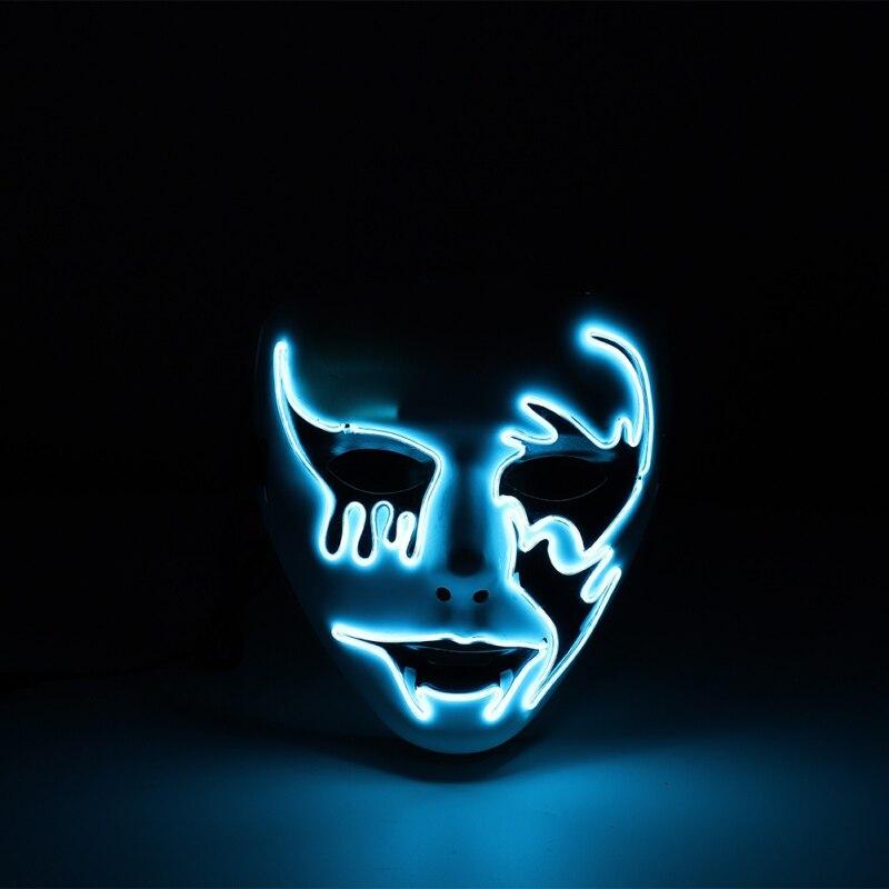 2019 nuevo estilo EL mascarilla de fiesta de Halloween máscaras de Mascarada máscara de neón luz brillo en la oscuridad máscaras de Horror brillantes masker