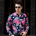 CE08 L-6XL 7XL Hombres Camisas de Manga Larga de Otoño 2016 Mens Camisas Floreadas Camisa Hawaiana Hombres Camisa de Vestir Camisas Párr Hombre