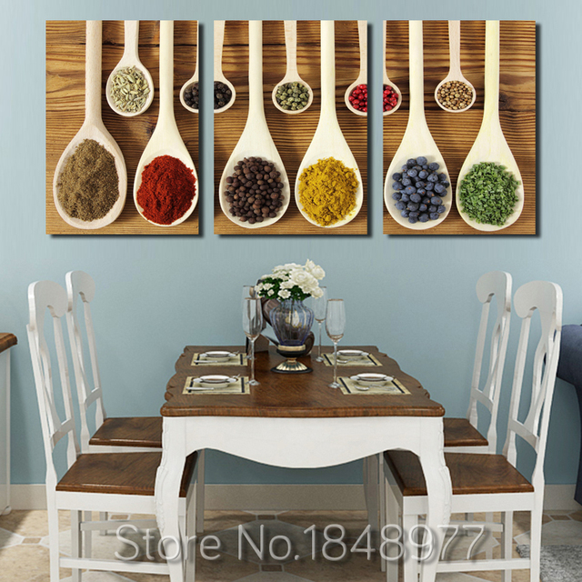 3 piece modern nordic wall art decoration spoon spices poster print canvas paintings for - Restaurant wall decor ideas ...