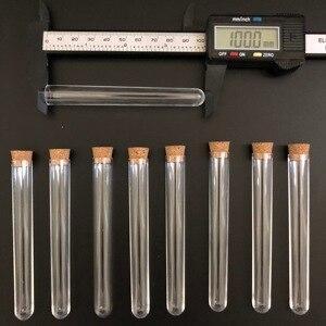 Image 2 - 100 adet 12x100mm Şeffaf Plastik test tüpleri mantarlar ile Plastik laboratuvar test yuvarlak boru fişi laboratuvar Şeffaf plastik tüpler flakon
