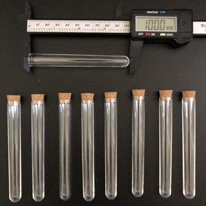 Image 2 - 100pcs 12x100mm Clear Plastic test tubes with corks Plastic laboratory test round tube plug lab Transparent plastic tubes vial
