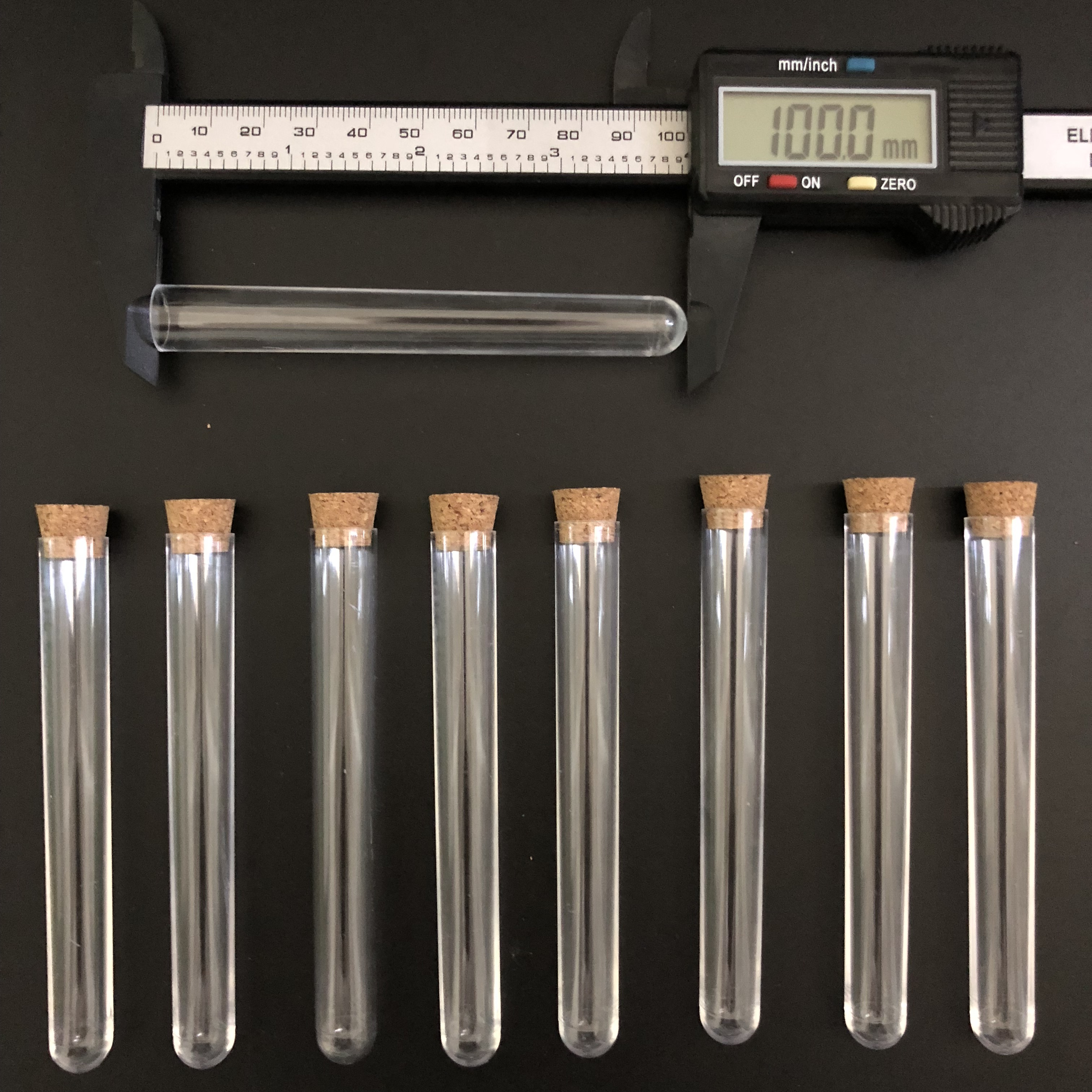 Image 2 - 400pcs 12x100mm Clear Plastic test tubes with corks Plastic laboratory test round tube plug lab Transparent plastic tubes vial-in Test Tube from Office & School Supplies