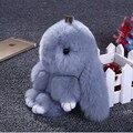 Auténtico Real Rex Pieles de conejo Llavero Bolsa Colgante Encanto Coche Tag Lindo Mini Muñeca de Juguete Conejo Real Fur Monster Llaveros F #120