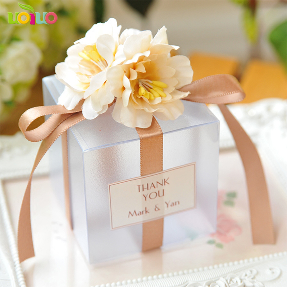 Romantic High Quality Beautiful Custom Names And Date Wedding Box Wedding Favor Boxes With Flowers