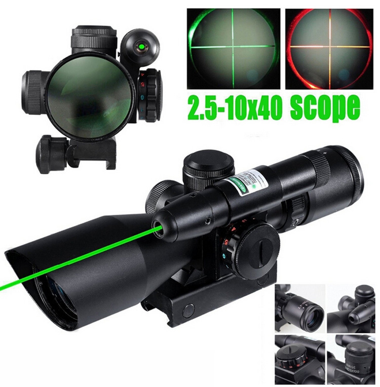 Hunting 2.5-10x40 Tactical Rifle Scope with Green Laser Dual illuminated Mil-dot w/ Rail Mount Gun Sight scope Free Shipping 2 5 10x40 air rifle scope reticle red green dot mil dot dual illuminated sight with red laser w rail mount airsoft gun hunting