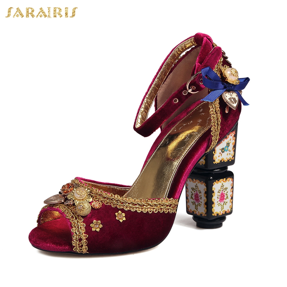 SARAIRIS New Arrivals Leather Luxury Peep Toe Party Wedding Women Shoes High Heels Top Quality Woman Pumps SandalsSARAIRIS New Arrivals Leather Luxury Peep Toe Party Wedding Women Shoes High Heels Top Quality Woman Pumps Sandals