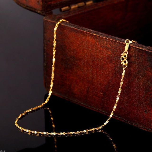 Authentic 24K 999 Yellow Gold Full Necklace For Women Female Best Gift Lover Party Wedding Necklace New 2.5-3g Hot Fashion 2