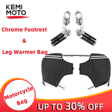 Black Engine Guard Waterproof Lowers Chaps Leg Warmer Bag + Chrome 1-1/4 1.25  32mm Highway Foot Pegs For Touring Motorcycle