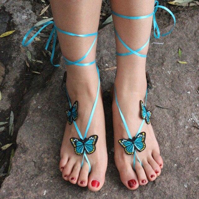 Nuevo ganchillo descalzo Sandalias mariposa tobillera, tan sandalias ...