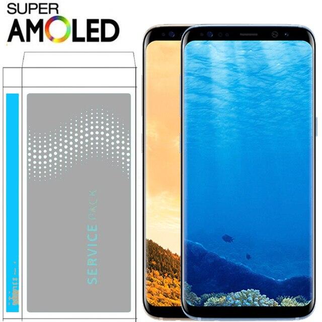 الأصلي سوبر AMOLED S8 LCD مع الإطار لسامسونج غالاكسي S8 G950 G950F عرض S8 زائد G955 G955F محول الأرقام بشاشة تعمل بلمس
