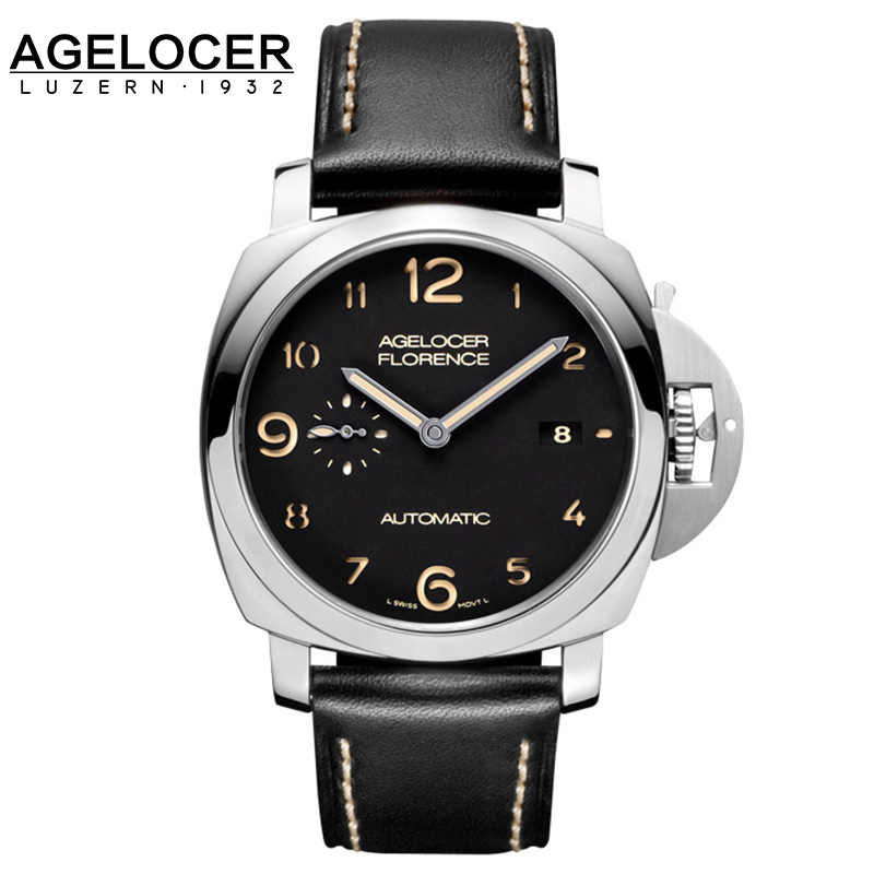 Agelocer Self-Wind Automatic Mechanical Watch Full Steel Men Original Imported Waterproof Wristwatch relojes hombre With Box relojes full stainless steel men s sprot watch black and white face vx42 movement