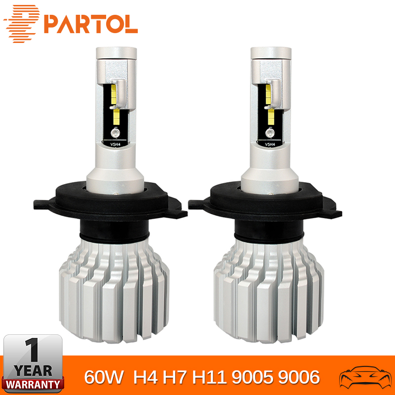 Partol H4 H7 H11 9005 9006 LED Headlight Fog Car Lights 60W 7000LM 6500K Automobile CSP HB3 HB4 Led Car LED HeadLamps 12V 24V