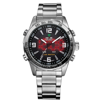 2018 New Watches Men Luxury Brand Weide Full Steel Quartz Clock Led Digital Military  Watch Sport Wristwatch Relogio Masculino 1