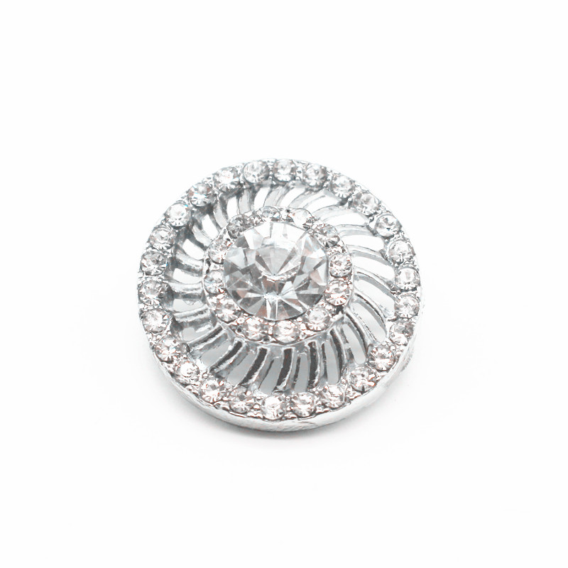Hollow Out Round Crystal Snap Buttons Clear Rhinestone Stone Buttons Jewerly Fit 18mm/20mm DIY Snap Bracelet Jewelry Making