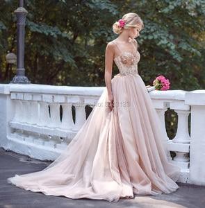 Image 3 - 매혹적인 블러쉬 핑크 Tulle 웨딩 드레스 2021 스파게티 스트랩 민소매 스팽글 신부 가운 오프 어깨 Vestidos de Noiva