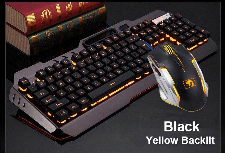 teclas backlit teclados mouse combo metal gamer